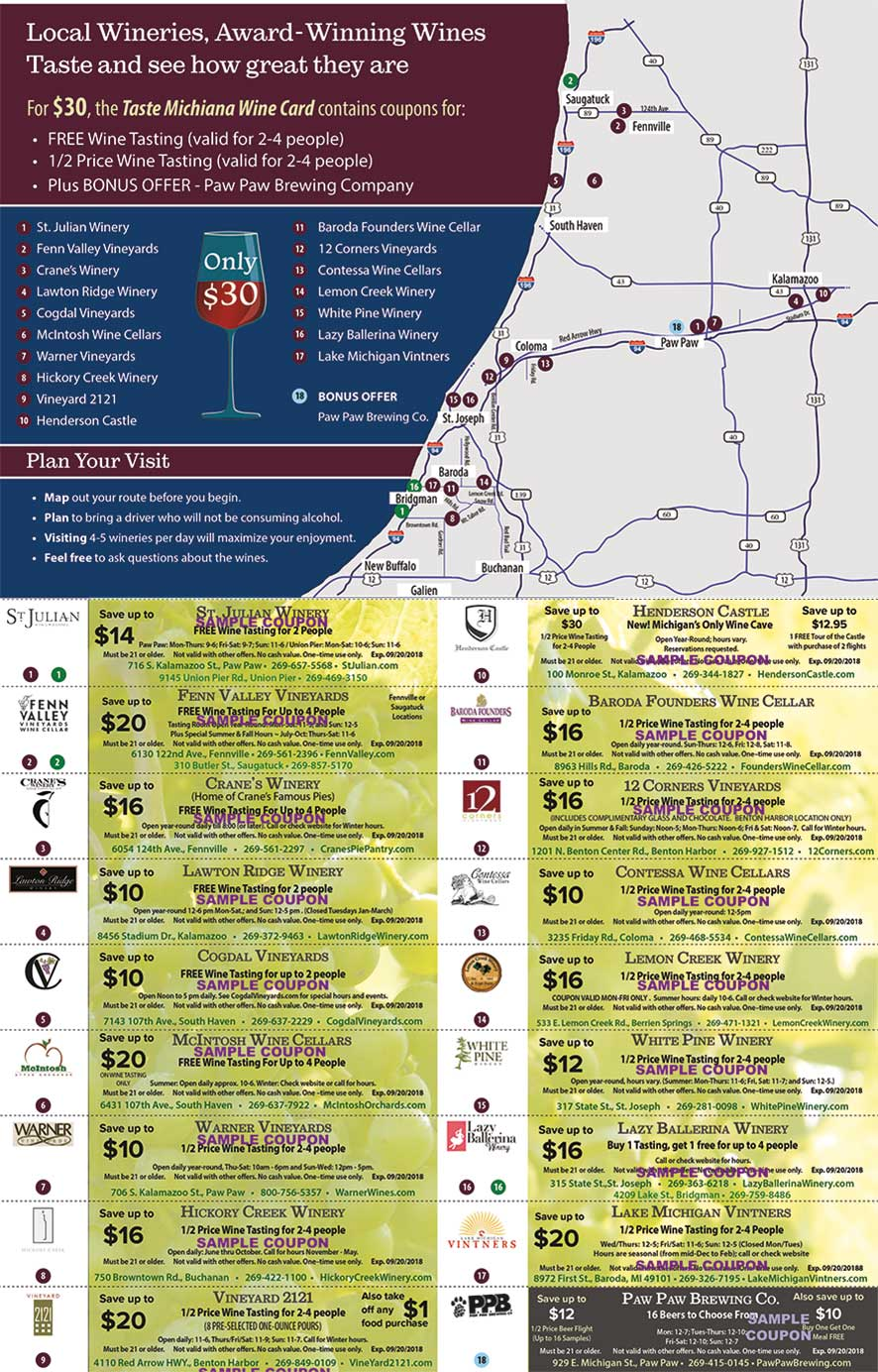 WineTasting Coupons Southwestern Michigan Map