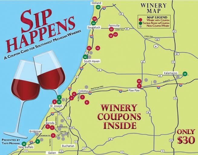 Sip Happens Winery Coupon Card 2019 Presented by Taste Michiana