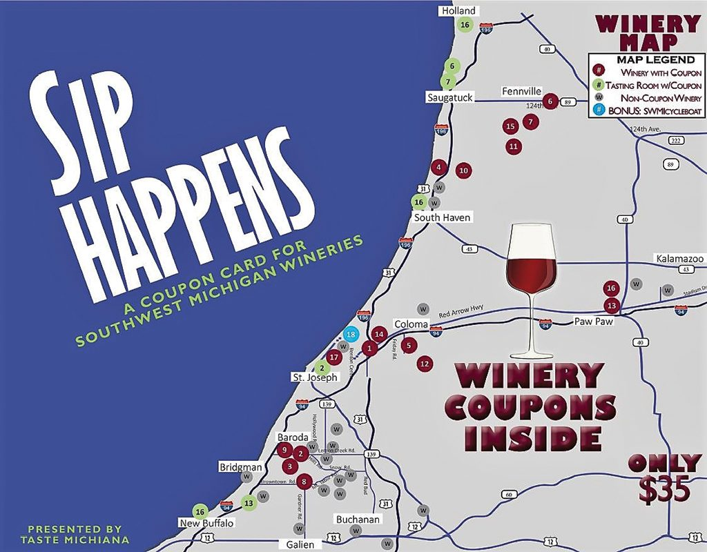 Sip Happens Winery Coupon Card 2020