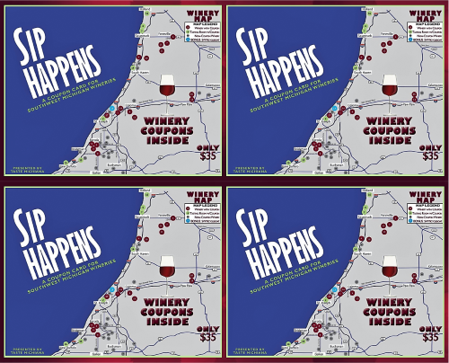 4 Sip Happens Cards for $120 - 500 px