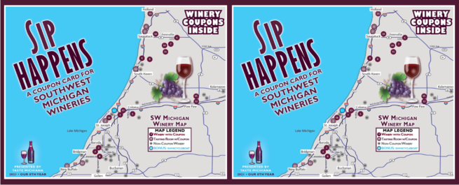 Sip Happens Winery Coupon Cards - 2-Card Special