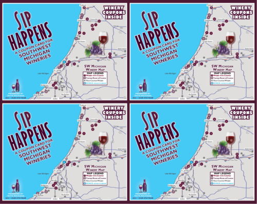 Sip Happens Winery Coupon Card - 4-Card Special